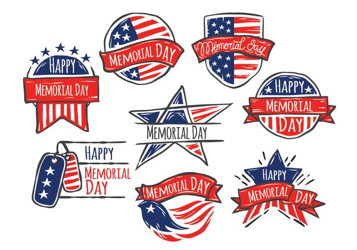 Glad Memorial Day of Hand Drawn Style Vector Set