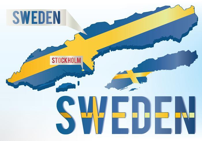 Mapa de la bandera de Suecia vector