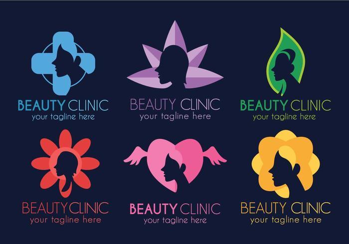Conjunto de diseño de plantilla de logotipo de la clínica de belleza