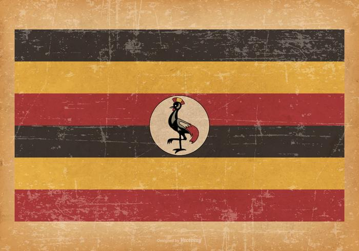 Alte Grunge Flagge von Uganda