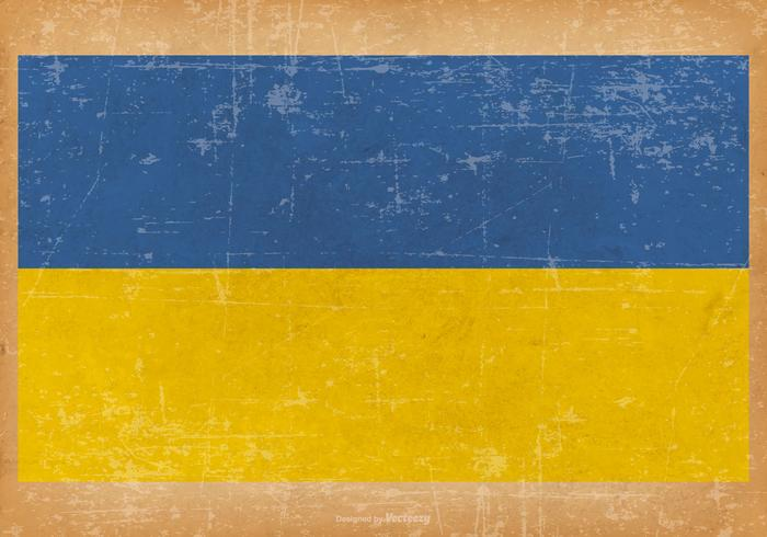 Old Grunge Flag of Ukraine