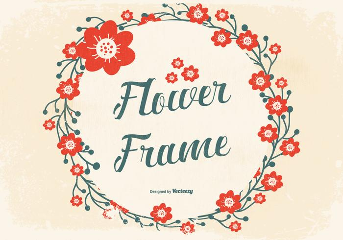 Grunge Flower Frame Background
