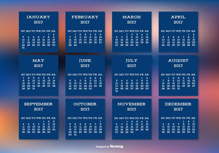 2017 Calendar on Beautiful Blurred Background