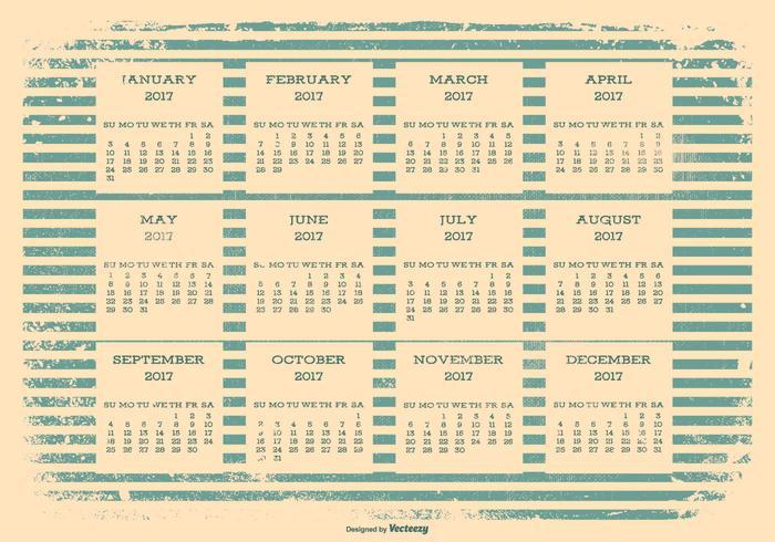 2017 Calendário retro do Grunge
