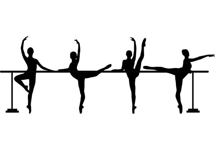 4 Dancers at Barre Vectors