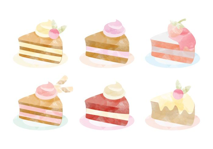Vector Watercolor Cakes Collection