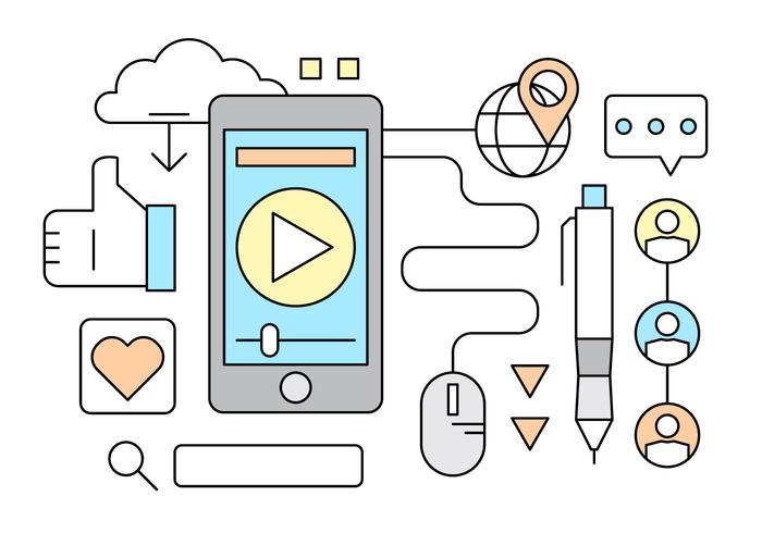 Free Linear Medios de Comunicación Social ilustración vectorial