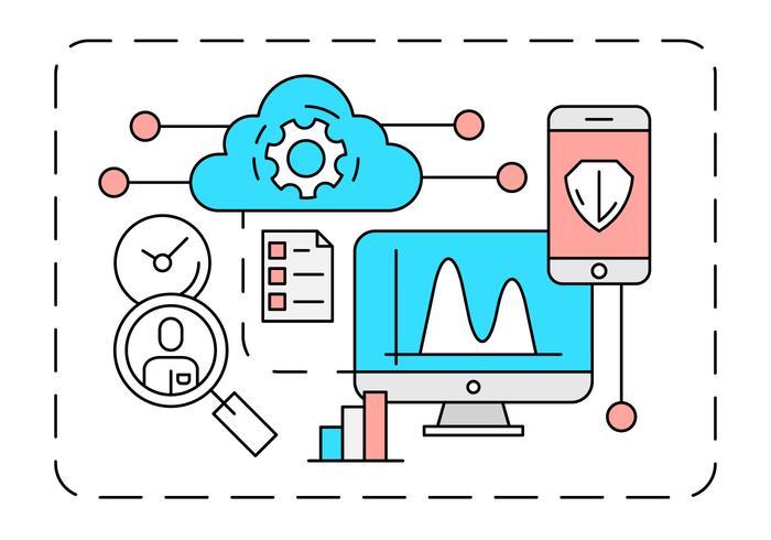 Ilustração Linear Cloud Computing vetor