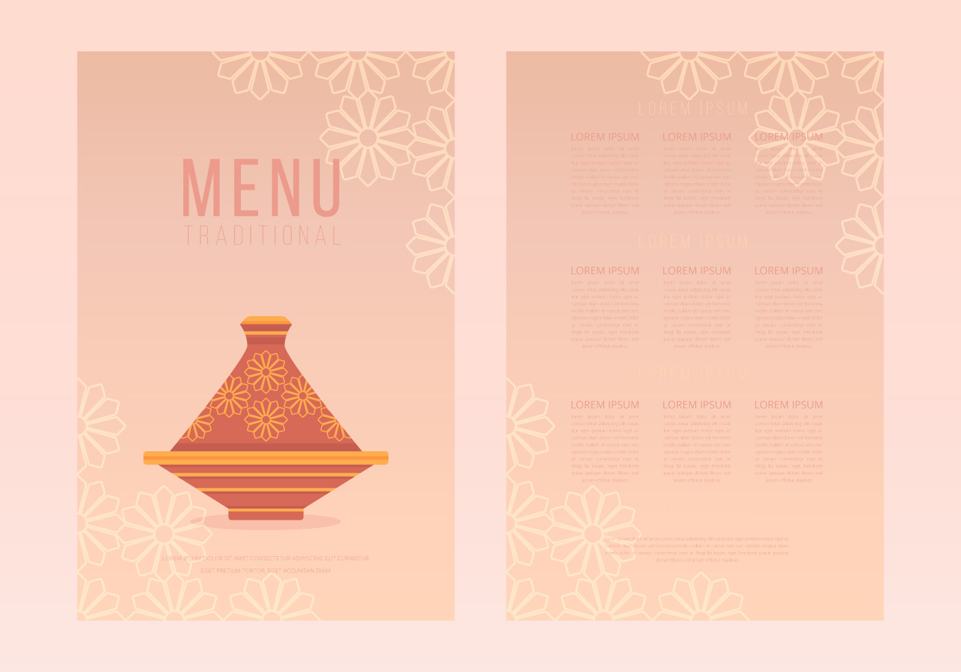 Tajine moroccan traditional food menu templates download for Menue templates