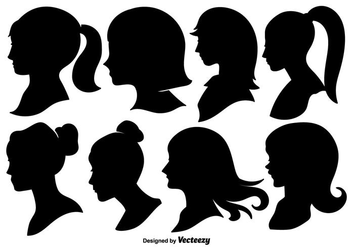 Woman Profile Silhouettes - Vector Illustration