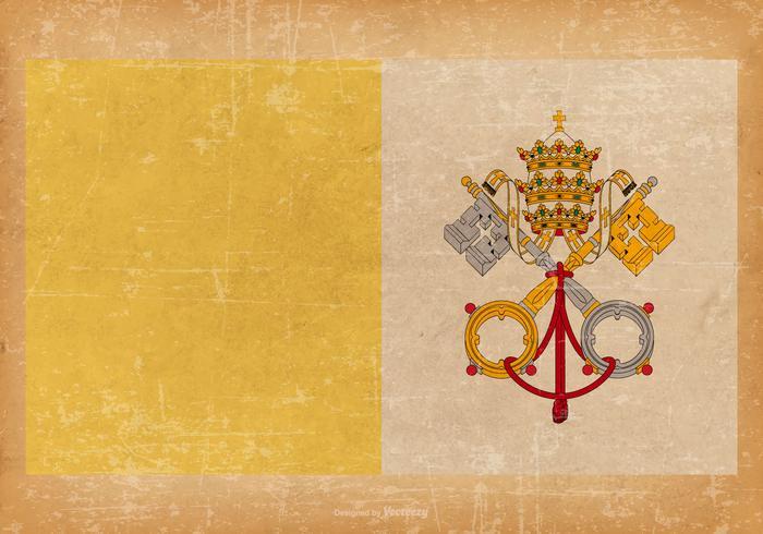 Old Grunge Flag of Vatian City