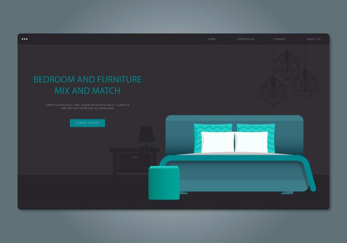 Teal Headboard Bedroom and Furniture Vector