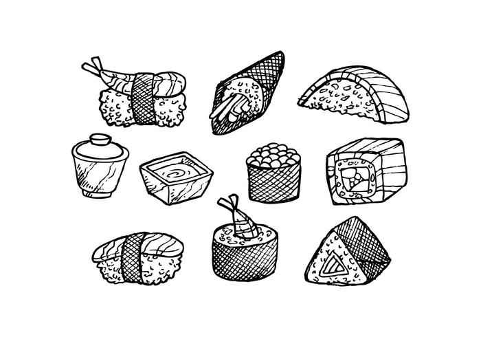 Free Japanese Food Hand Drawn Icon Vector