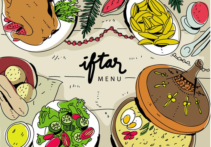 Iftar Ramadhan Menu Eten Op Traditionele Tajine Vector Illustratie