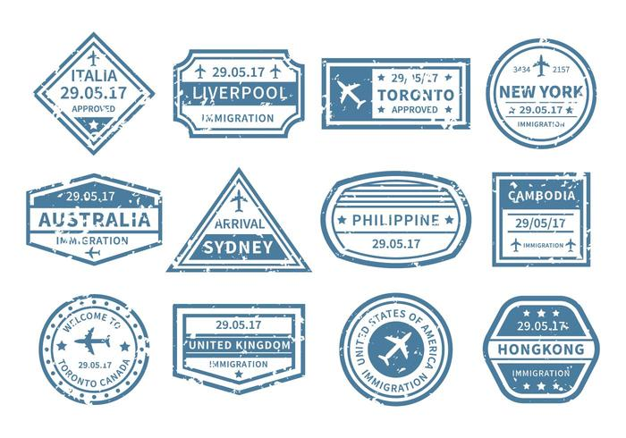 Travel Around World Stamp Vector