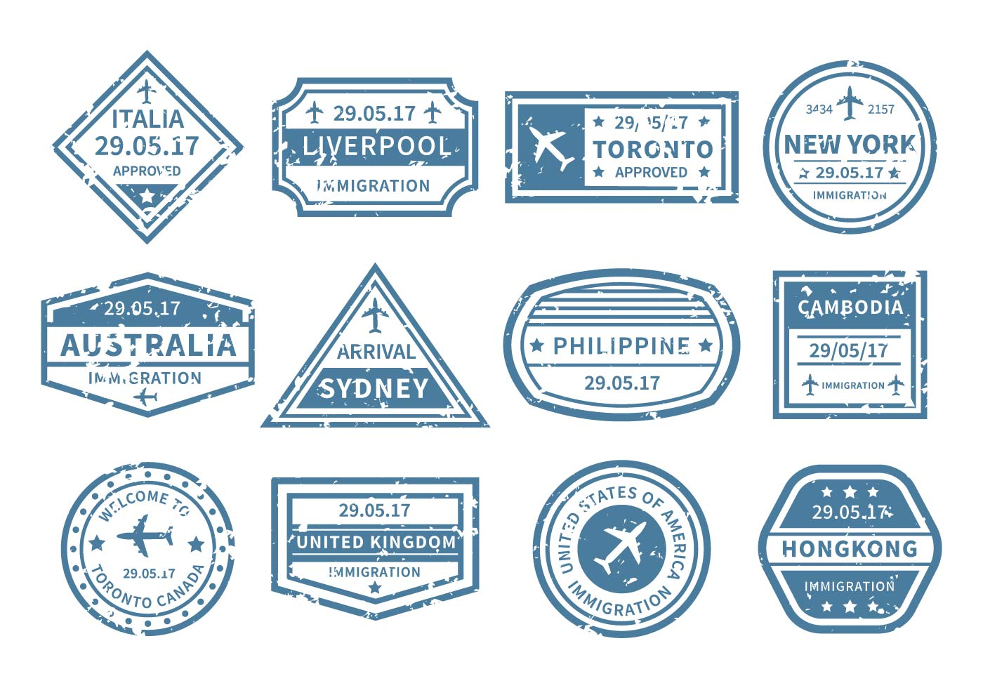 Travel Around World Stamp Vector Download Free Vector