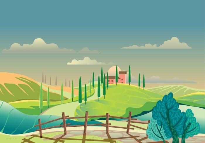 Vew of the Hilly Landscape in Tuscany