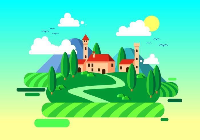 Flat Farm Toscane Gratis Vector