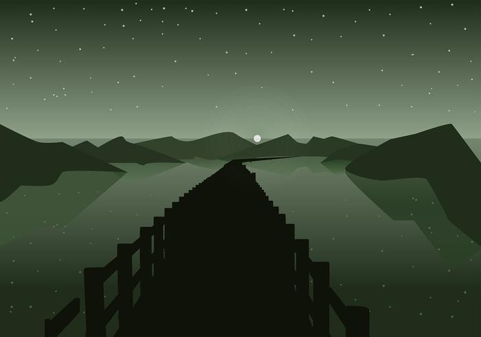 Boardwalk Night Silhouette Free Vector