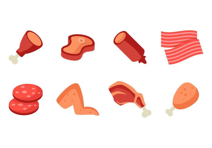 Meat Product Icons Vector