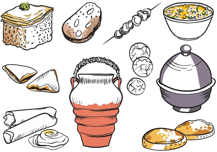 Free Moroccan Dishes Vectors