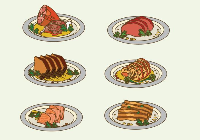 Carne del Charcuterie sull'illustrazione di vettore del piatto