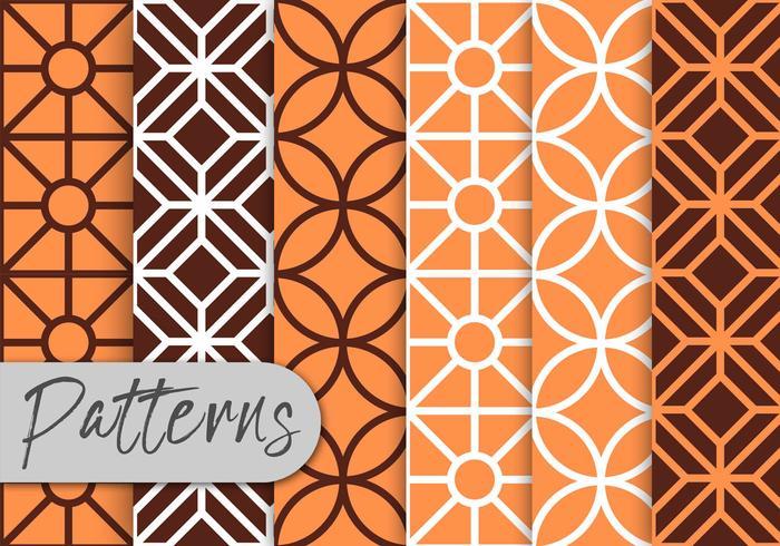 Línea naranja patrón de arte conjunto