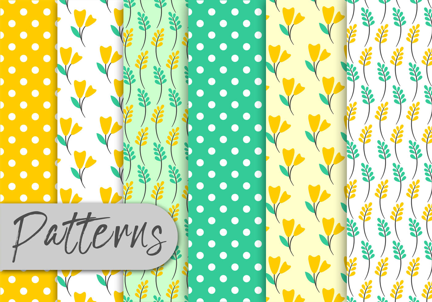 yellow mint floral pattern set download free vector art