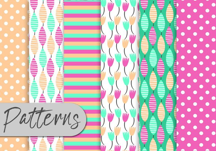 Cute Colorful Nature Pattern Set vector