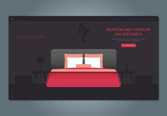 Red Bedroom and Furniture Web Interface