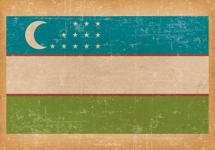 Viejo Grunge Bandera de Uzbekistán