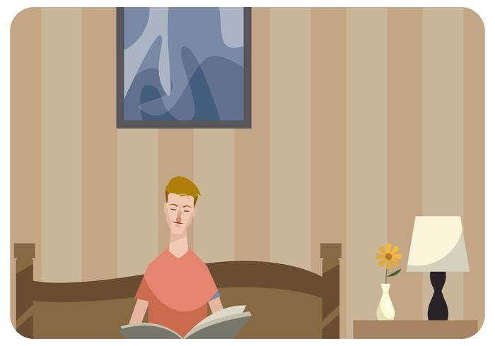 Hombre, lectura, libro, cama, vector