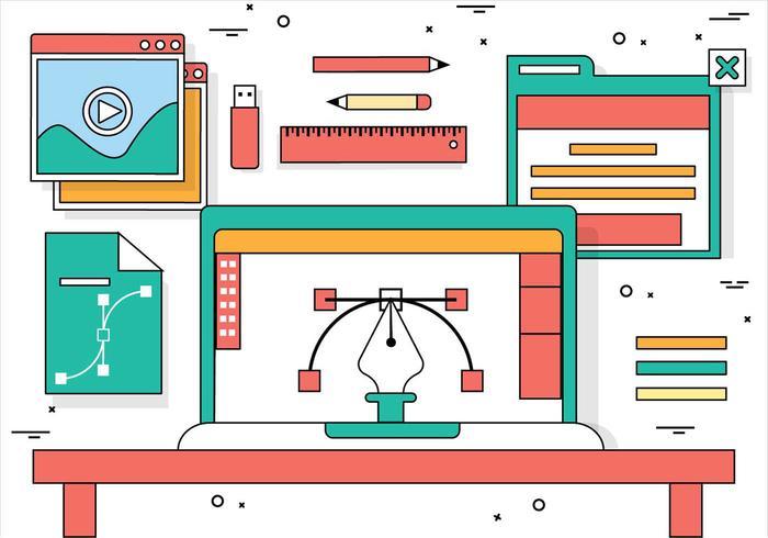 Elementi di desktop vettoriali gratis Design piatto