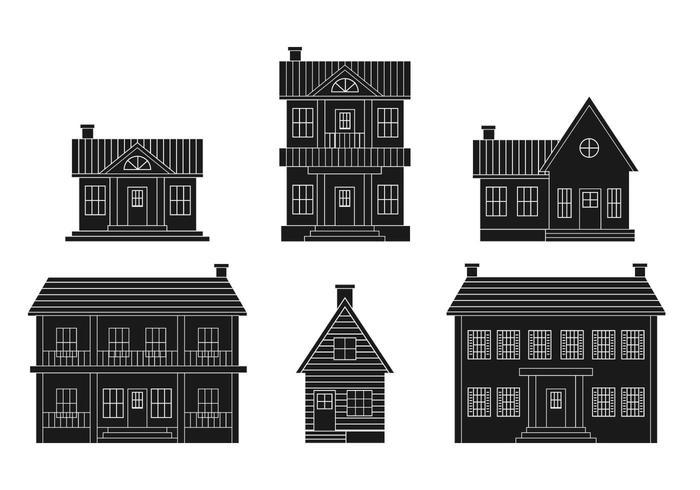 Conjunto de vetores da casa colonial