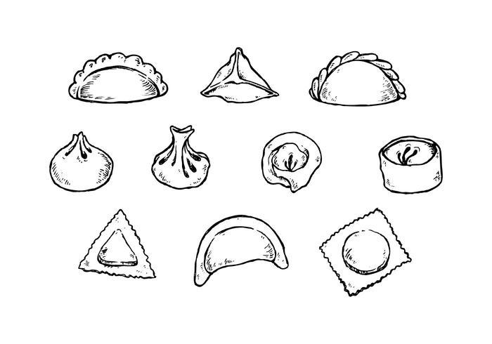 Livre Dumplings Hand Drawn Collection Vector