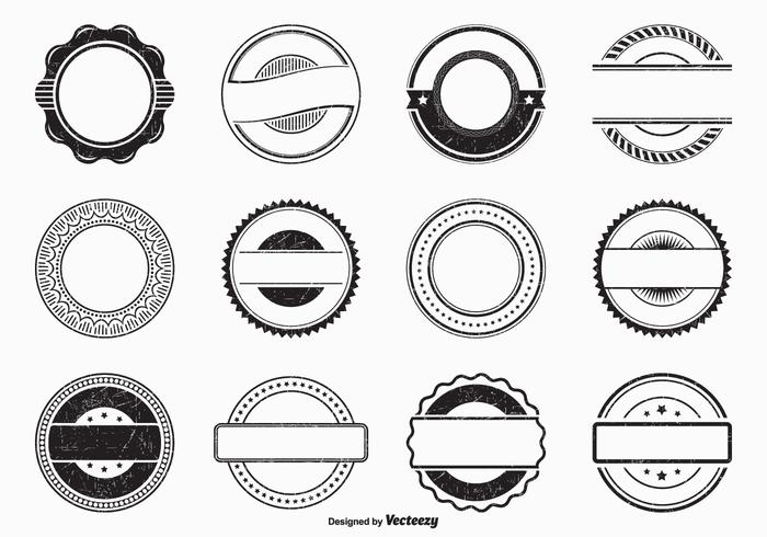 Black Empty Grunge Vector Rubber Stamps