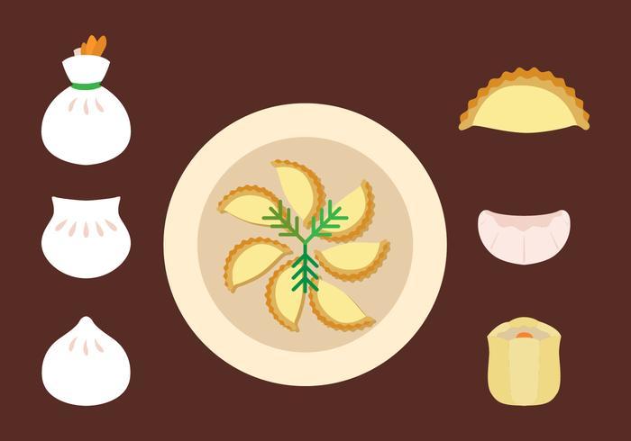Ensemble d'icônes de dumplings plats