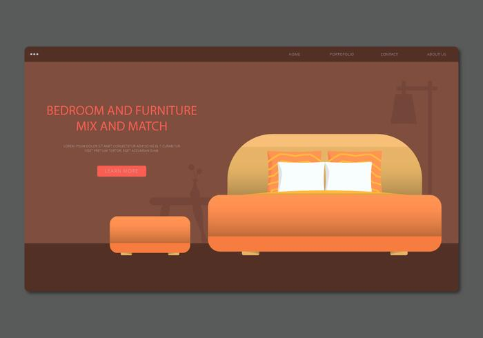 Modern Orange Headboard Bedroom and Furniture Vector