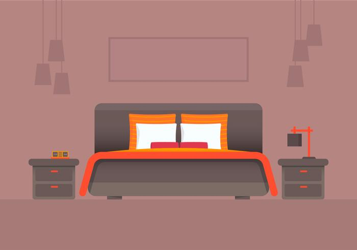 Orange Headboard Bedroom and Furniture Vector