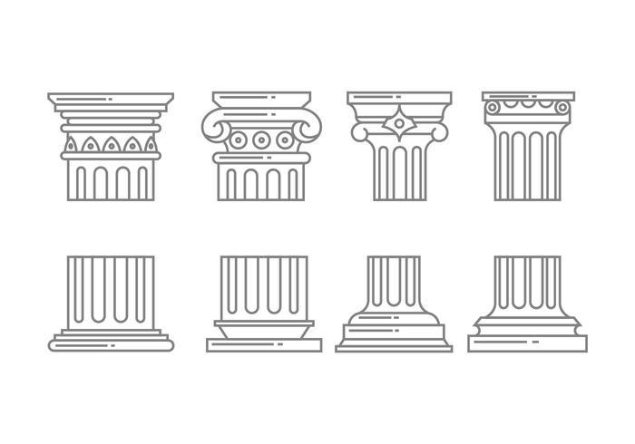 Iconos de columnas romanas vector