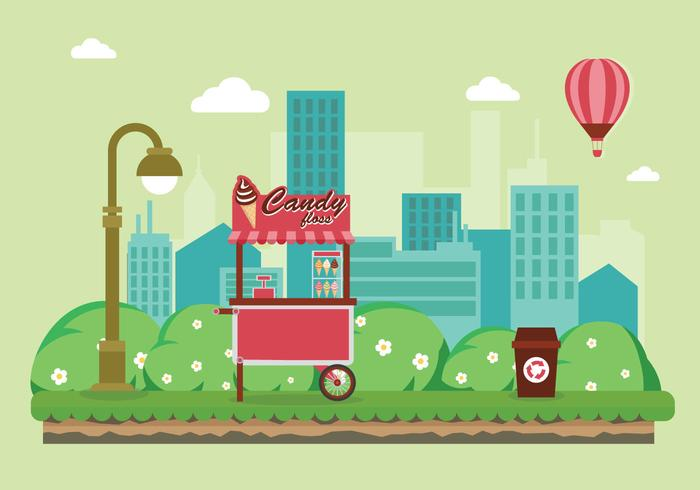 Candy Floss Food Cart in the City Illustration vector