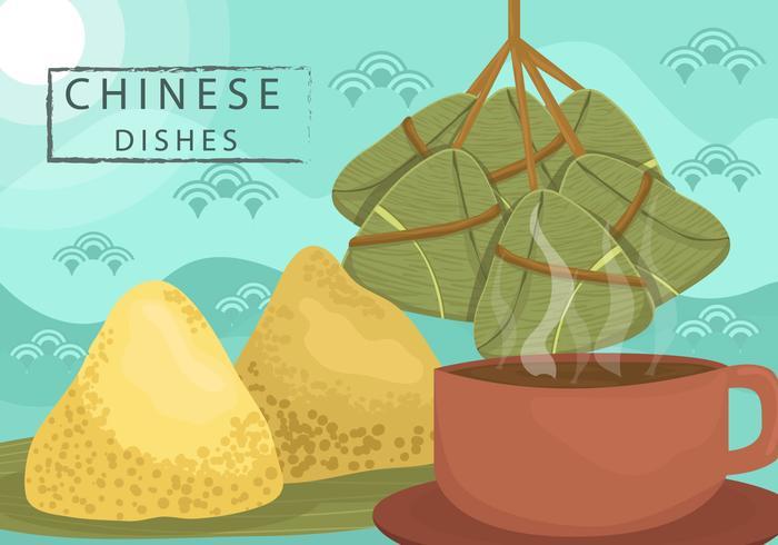Vetor chinês de bolinhas de massa