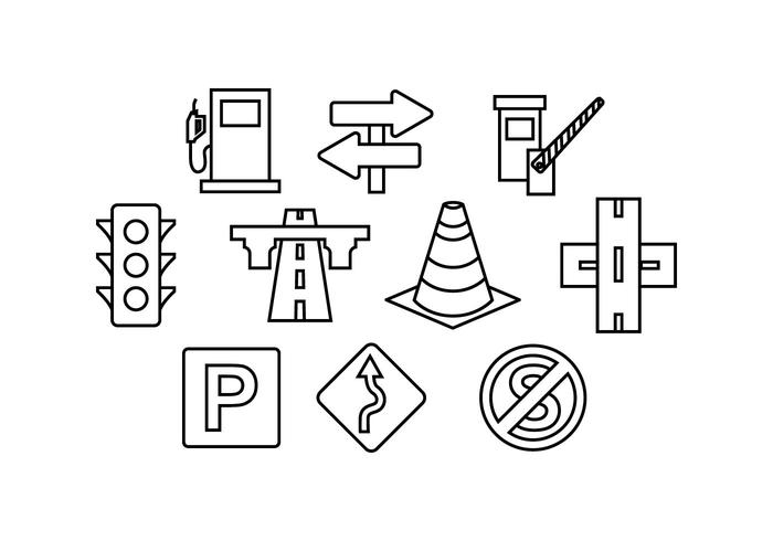 Free Road Traffic Line Icon Vector