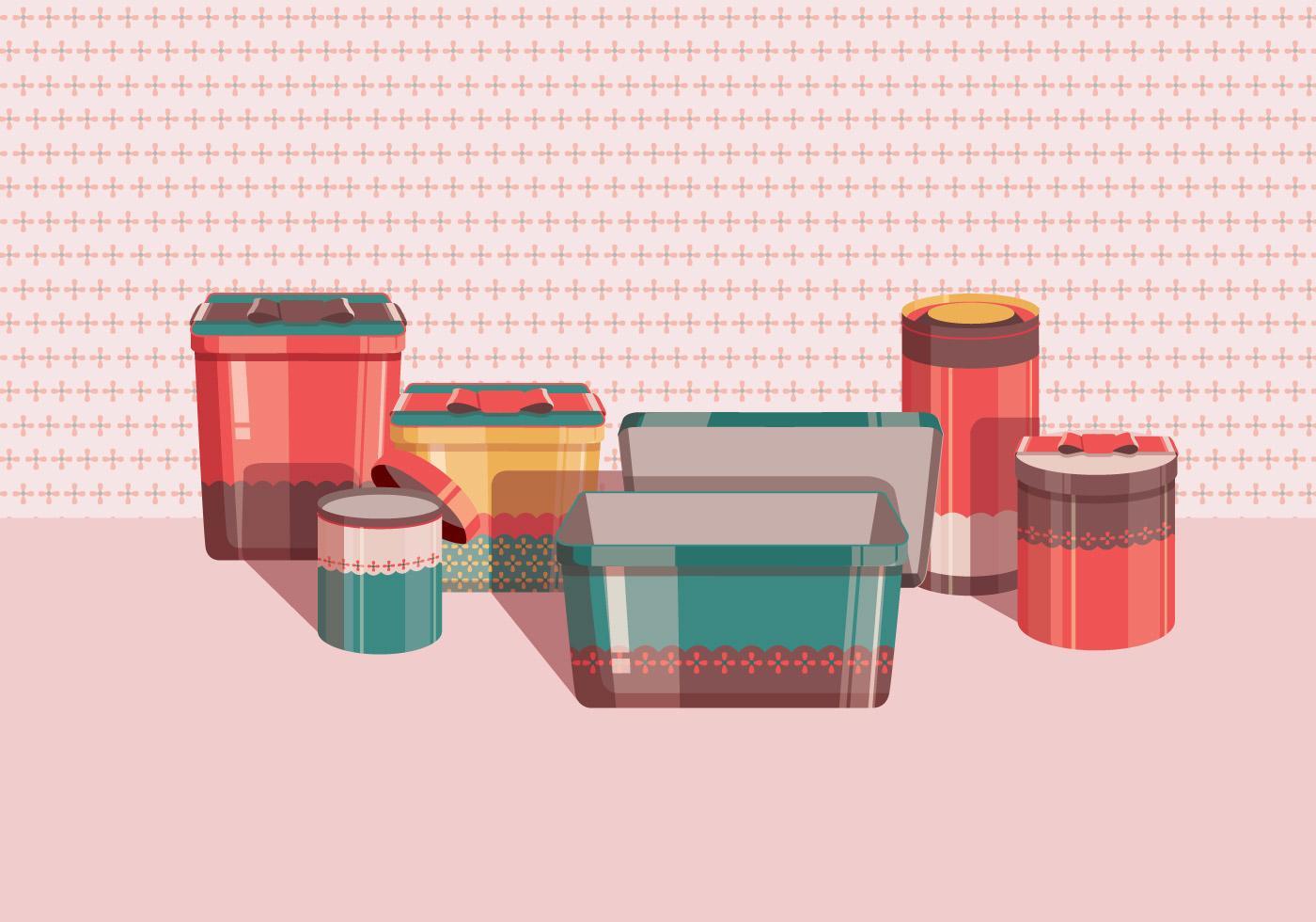 [矢量]可爱风格罐盒设计 | 罐子 | 盒子 | 矢量图插图-泛设计