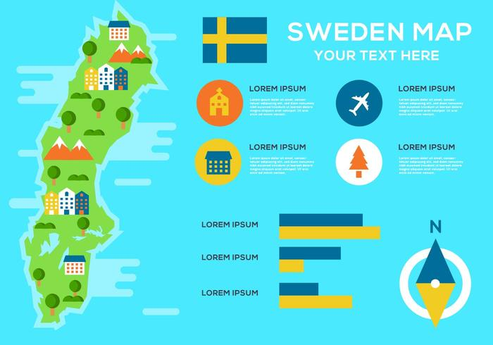 Free Sweden Map Infographic Vector
