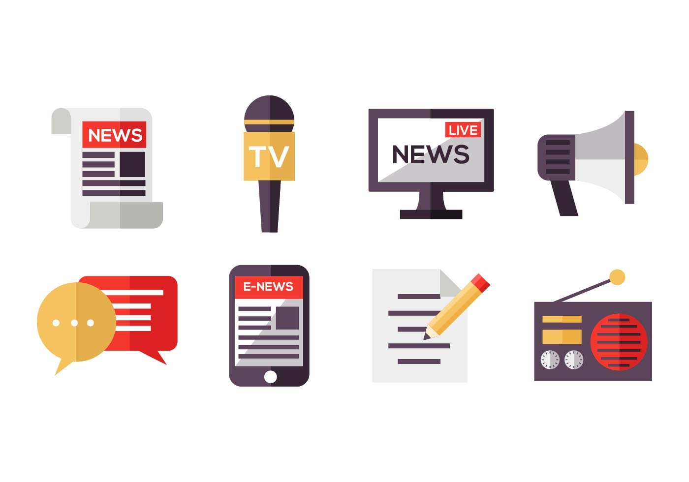 Free Mass Media Icons Vector - Download Free Vector Art ...