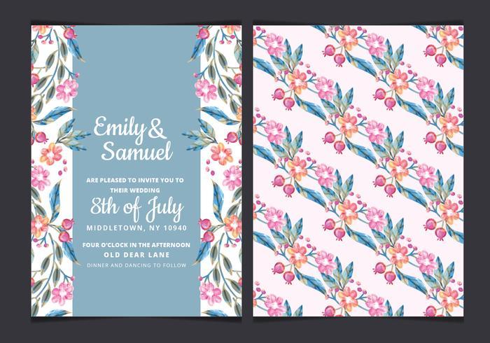 Vector Colorul Branches Wedding Invite
