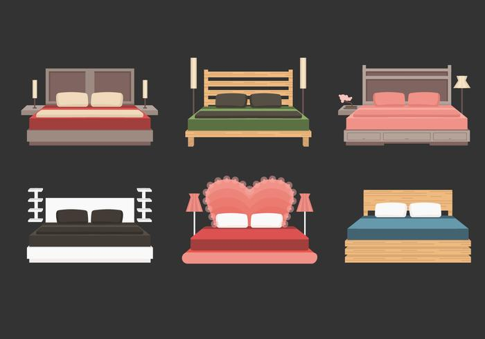 Headboard With Bed Vector Collection