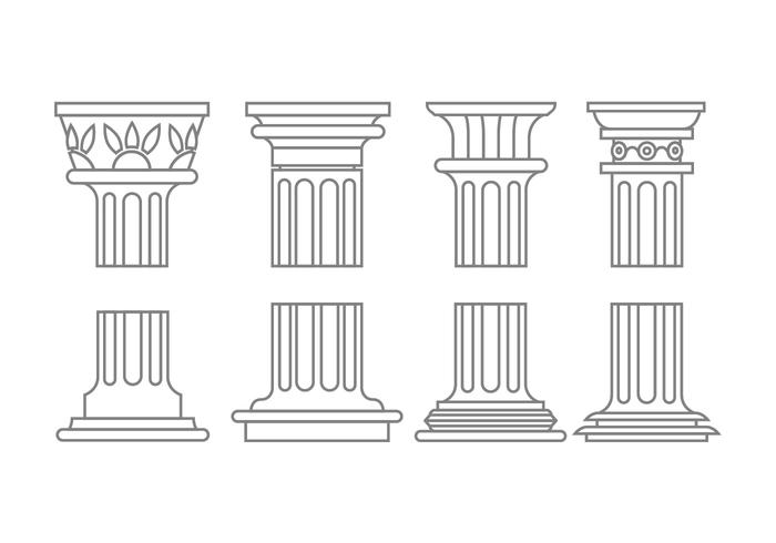 Roman column icons vector