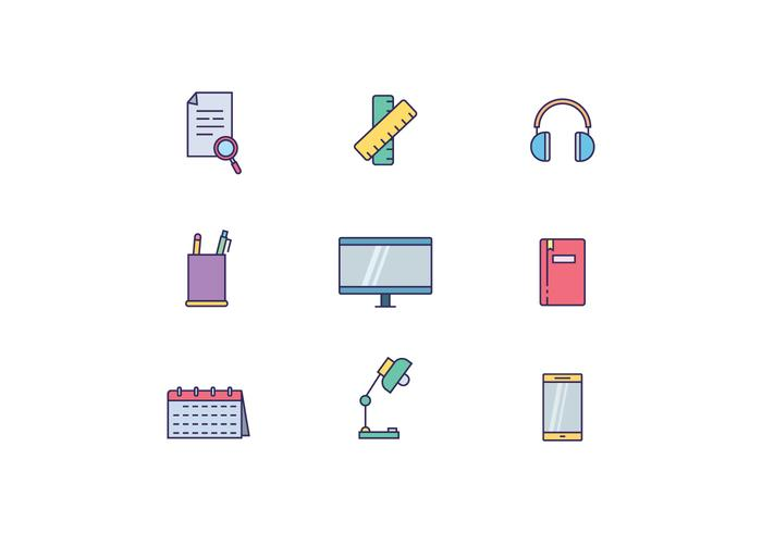 Work Desk Objects vector